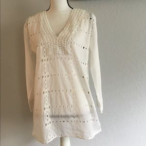 White long sleeve V Neck embroidered eyelet blouse